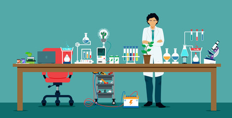 Scientists in laboratories with equipment for science experiments.