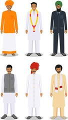 Set of different standing indian men in the traditional clothing isolated on white background in flat style. Indian traditional clothing, east dress. Vector illustration.
