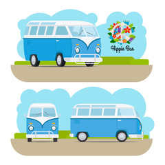 Hippie vintage blue mini van. Vector illustration