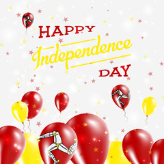Isle of Man Independence Day Patriotic Design. Balloons in National Colors of the Country. Happy Independence Day Vector Greeting Card.