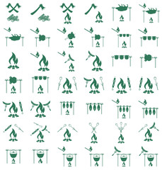 Set of coocing on campfire icons. Vector illustration.
