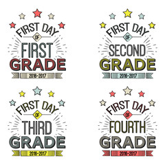 First Day of School Signs.These  can be framed, taped to a popsicle stick, or just held by the child for the photo. Vector illustration