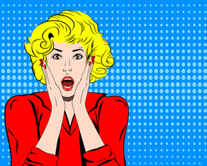 Vector woman shocked face with open mouth in pop art comics style. Retro amazed girl . surprised or panic emotions