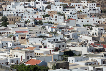 White houses in the small town Londos, located at the island Rhodes, Greece