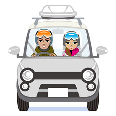 Winter fashion Couple riding the Silver car  - Isolated