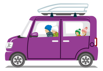 Winter fashion Family riding the Purple car  - Isolated