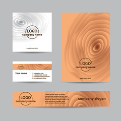 Realistic wooden corporate set of business card, cover, and banner. Abstract vector background for company branding with wooden texture.