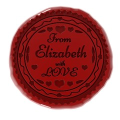 3d illustration of wax seal or stamp and from Elizabeth with love message