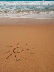 beach sun draw on sand