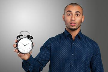 black businessman with clock