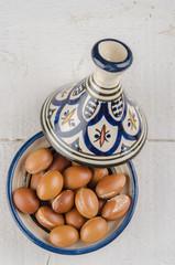 Argan fruit in a moroccan tajine