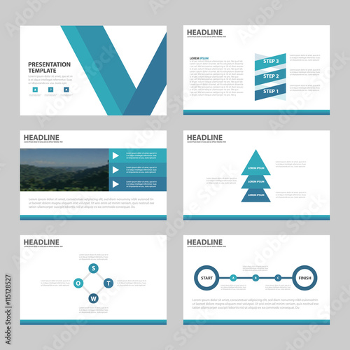 Blue Abstract Presentation Templates, Infographic Elements