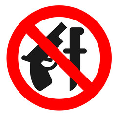 "Weapon prohibited icon. Forbidding vector sign ""No weapons"" with gun and knife."
