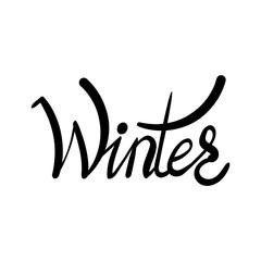 Inscription - Winter. Hand drawn lettering.