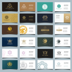 Business card template and Luxury logo collection, Brand identity and stationary.