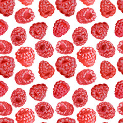 Appetizing watercolor raspberry, hand drawn illustration, seamless pattern