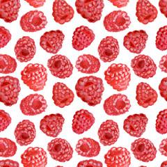 Appetizing watercolor raspberry, hand drawn illustration, seamless pattern