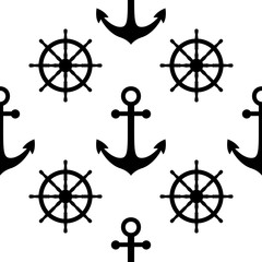 Vector black and white nautical seamless pattern. Cute design