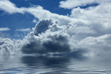 sky reflected in the water