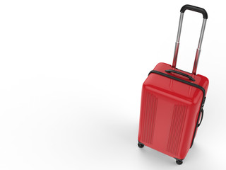 red luggage on white background