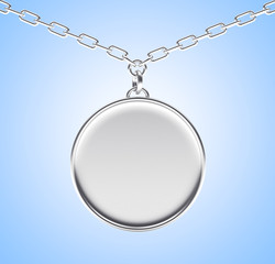 Silver blank round medallion or medal on a chain on blue background. 3D illustration