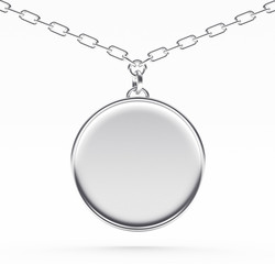 Silver blank round medallion or medal on a chain isolated on white background. 3D illustration