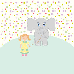 Little girl and the elephant