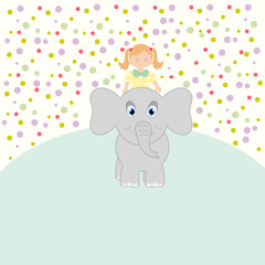 Elephant rolls a little girl. Vector art-illustration