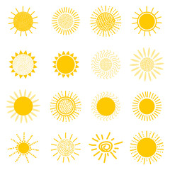 Sun icons collection. Creative set.