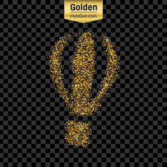 Gold glitter vector icon of air balloon isolated on background. Art creative concept illustration for web, glow light confetti, bright sequins, sparkle tinsel, abstract bling, shimmer dust, foil.