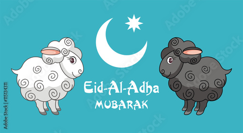 Eid al adha greeting card with the image of the sacrificial lamb and eid al adha greeting card with the image of the sacrificial lamb and crescent m4hsunfo