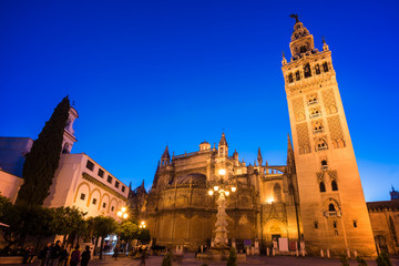 Wall Mural - The cathedral of Seville and la Giralda by night, Andalusia, Spain