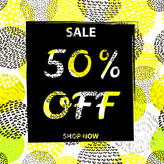 Sale poster 50% Off on the circles colorful  background