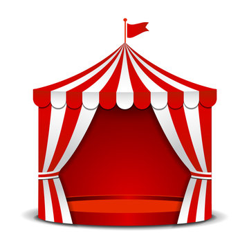 Circus tent isolated on white background.