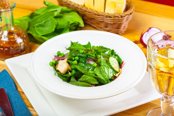 Fresh green salad with spinach
