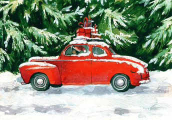 Red car with christmas gifts in green forest