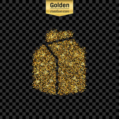 Gold glitter vector icon of the milk carton isolated on background. Art creative concept illustration for web, glow light confetti, bright sequins, sparkle tinsel, abstract bling, shimmer dust, foil.