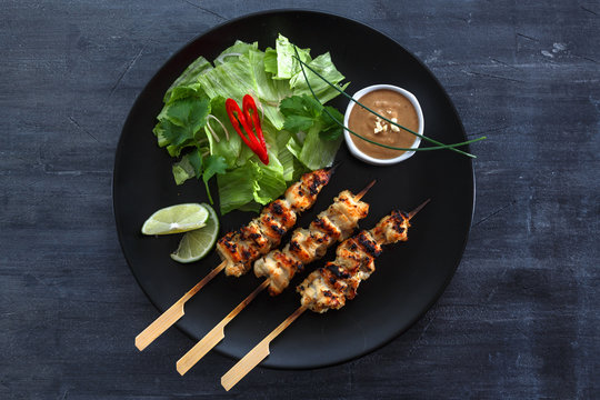 Chicken Satay or Sate Ayam - Malaysian famous food.