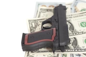 Gun on US dollar banknotes