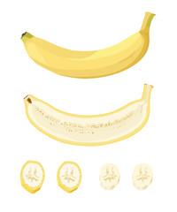 Рисунок на белом фоне целого банана и разрезанных бананов. Производство, переработка, продажа, кулинария.