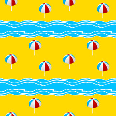 Summer seamless pattern with  with the sea, parasol. Vector illustration