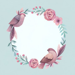 Wreath with birds and flowers. Perfect for greeting card