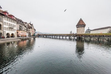 Holiday in Europe - Beautiful foggy view of winter landscape in Lucerne, Switzerland