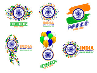 India Independence Day set of six greeting card elements in traditional colors - saffron, green, navy blue.
