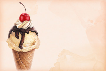 Watercolor illustration of ice cream with cherry