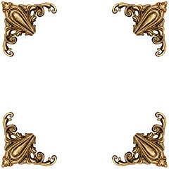 Golden elements of carved frame