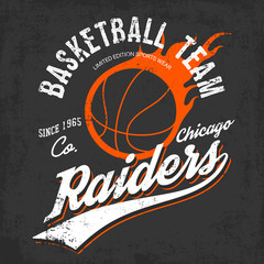 Raiders basketball team logo for sportwear