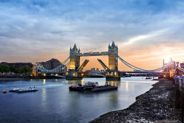 Opened Tower Bridge at sunset, London