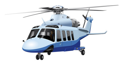 Color image of a helicopter (blue) on a white background. High-detail.