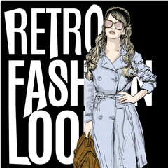 vector illustration of a woman in a retro style wearing a trench coat . copy space